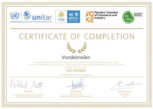 Certificate United Nations Of Completion Vondelmolen 2020